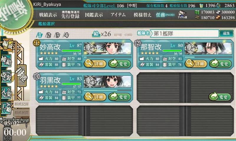 艦これ「第五戦隊」を編成せよ! / 編成例