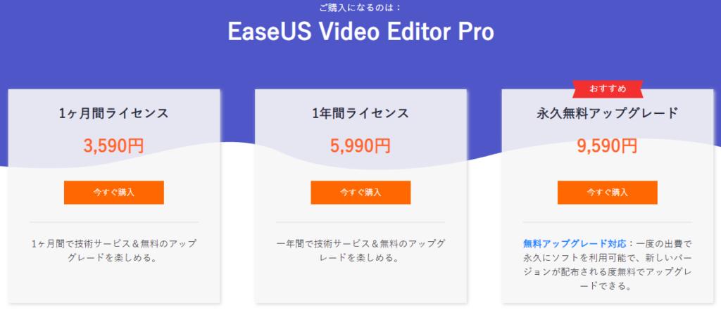 EaseUS Video Editor / 永久無料アップグレード対応の買い切り版がある。