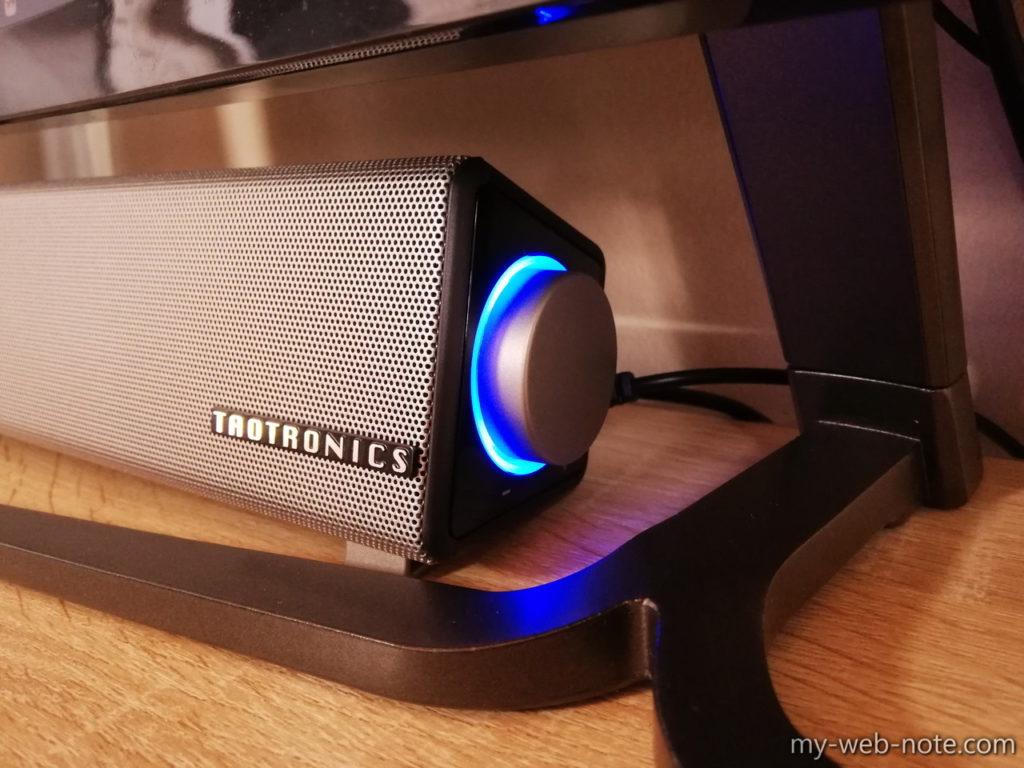 Taotronics PCスピーカーはボリューム部分に青色LED