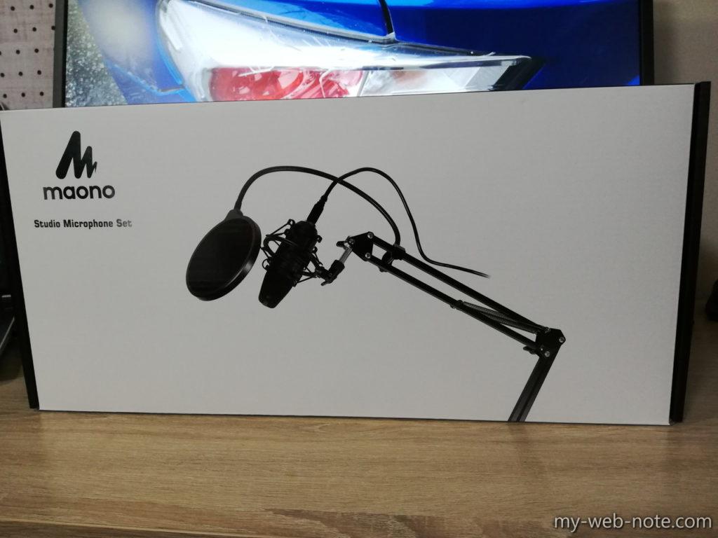 『MAONO USBマイク コンデンサーマイク』パッケージと外観