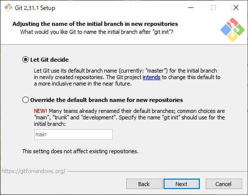 Adjusting the name of the initial branch in new repositories