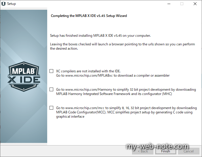 Completing the MPLAB X IDE Setup Wizard