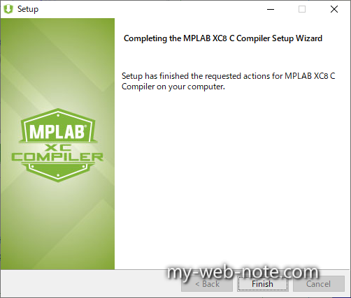 Completing the MPLAB XC8 C Compiler Setup Wizard