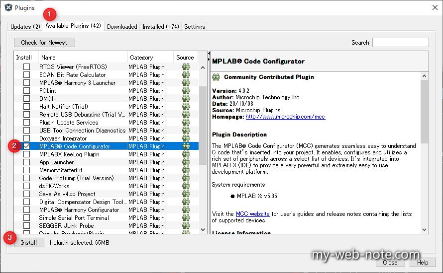 「MPLAB Code Configurator」を選択する。