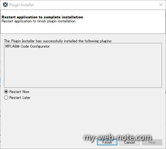 Restart application to complate installation