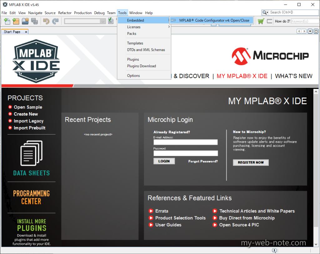 「MPLAB Code Configurator」(MCC)起動方法