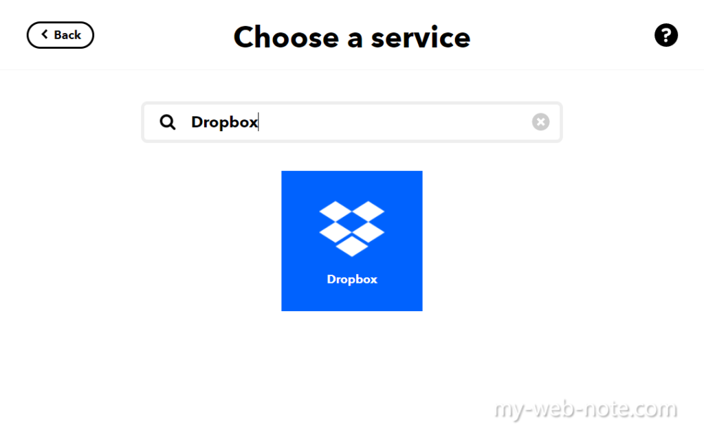 IFTTT / Choose a service Dropbox
