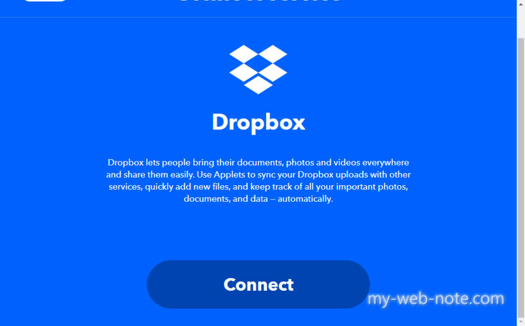 IFTTT / Dropbox Connect