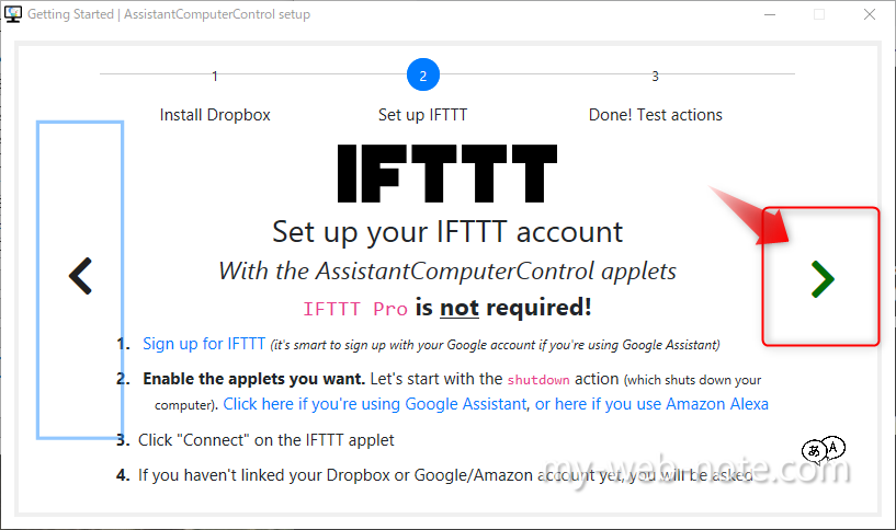 AssistantComputerControl  / Set up IFTTT 2